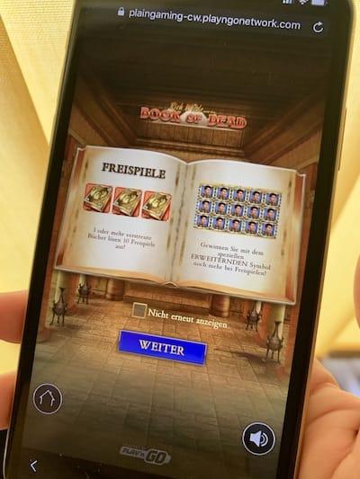 auf iPhone Book of Dead spielen