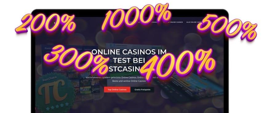 Online Casino Einzahlungsbonus: 200%,300%,400% und mehr