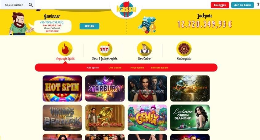 Kassu Casino mit Echtgeld spielen