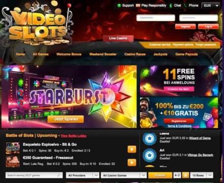 11 Freispiele für Erste Einzahlung bei Starburst + 100% bis zu 200€ Bonus